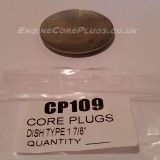 "1 7/8"" imperial dish type mild steel zinc plated automotive core plug"